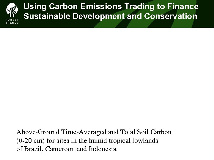 Using Carbon Emissions Trading to Finance Sustainable Development and Conservation Above-Ground Time-Averaged and Total