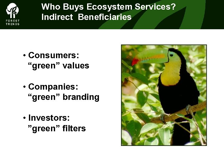 """Who Buys Ecosystem Services? THEIndirect Beneficiaries FOREST CLIMATE ALLIANCE • Consumers: """"green"""" values •"""