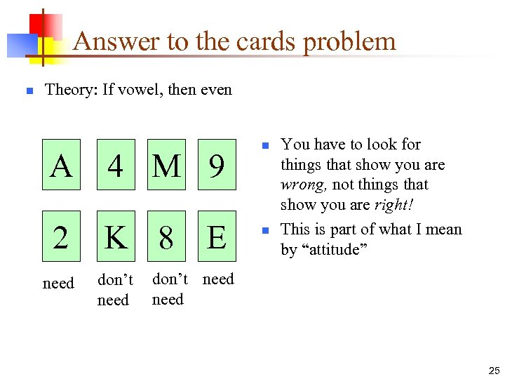 Answer to the cards problem n Theory: If vowel, then even A 4 M