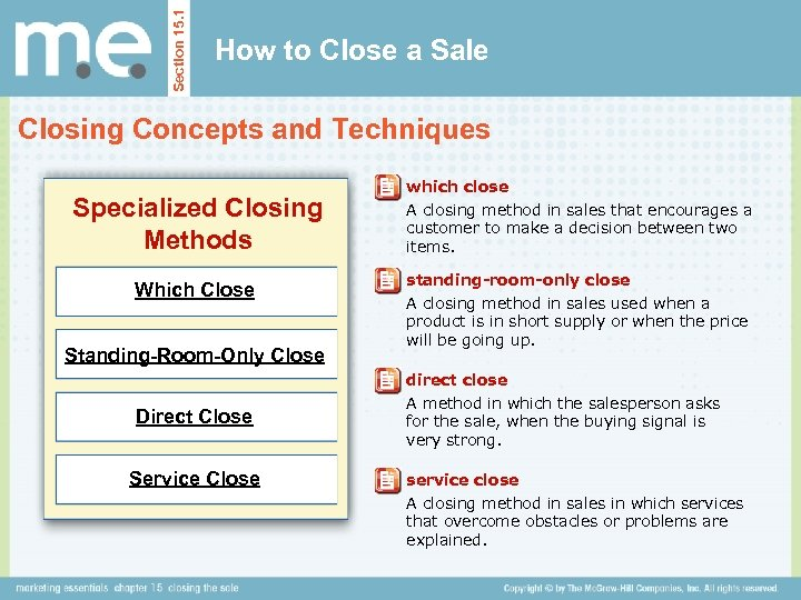 Section 15. 1 How to Close a Sale Closing Concepts and Techniques Specialized Closing