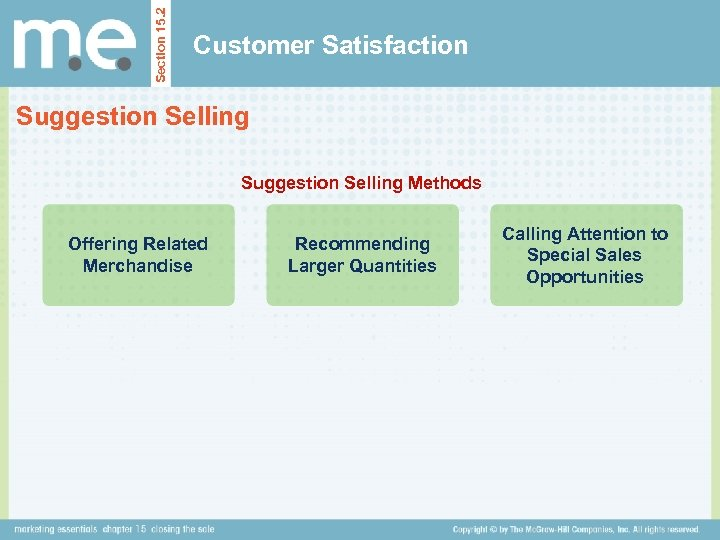 Section 15. 2 Customer Satisfaction Suggestion Selling Methods Offering Related Merchandise Recommending Larger Quantities