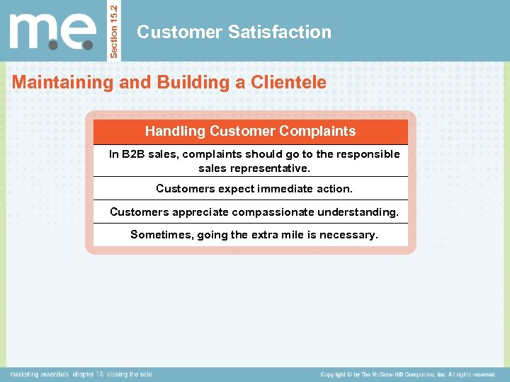 Section 15. 2 Customer Satisfaction Maintaining and Building a Clientele Handling Customer Complaints In