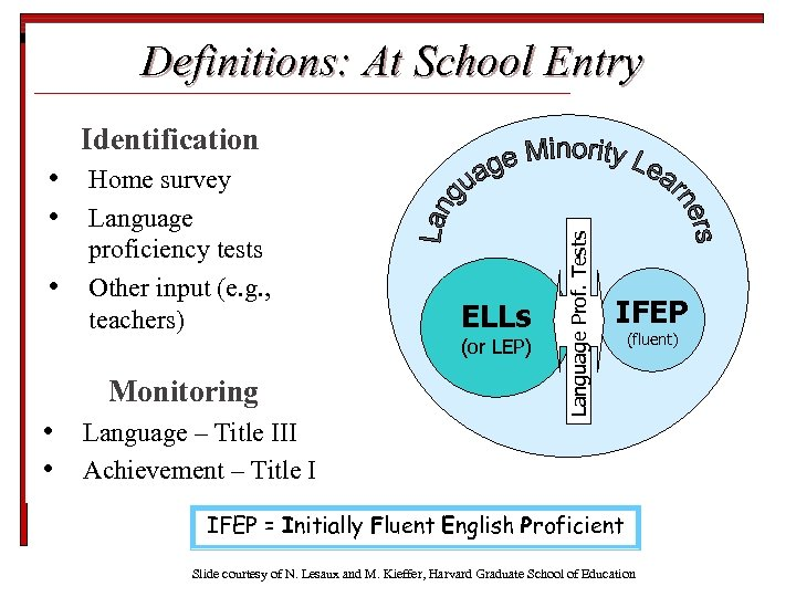 Definitions: At School Entry • • • Home survey Language proficiency tests Other input