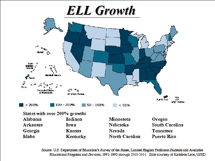 ELL Growth States with over 200% growth: Alabama Indiana Arkansas Iowa Georgia Kansas Idaho