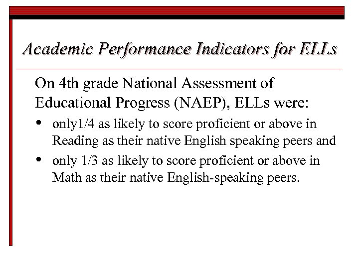 Academic Performance Indicators for ELLs On 4 th grade National Assessment of Educational Progress