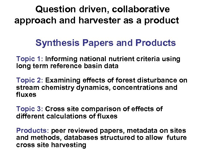 Question driven, collaborative approach and harvester as a product Synthesis Papers and Products Topic