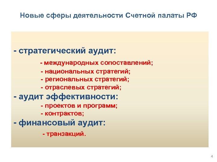 Новые сферы деятельности Счетной палаты РФ - стратегический аудит: - международных сопоставлений; - национальных