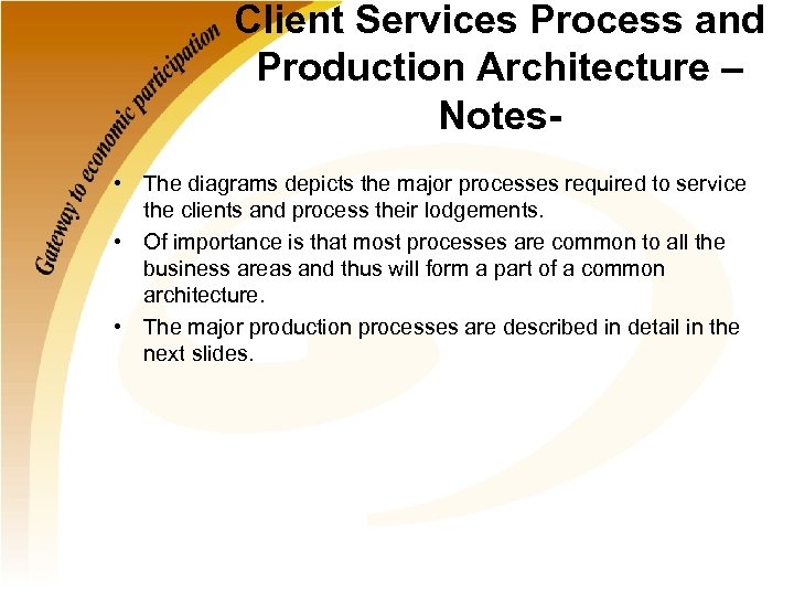 Client Services Process and Production Architecture – Notes • The diagrams depicts the major
