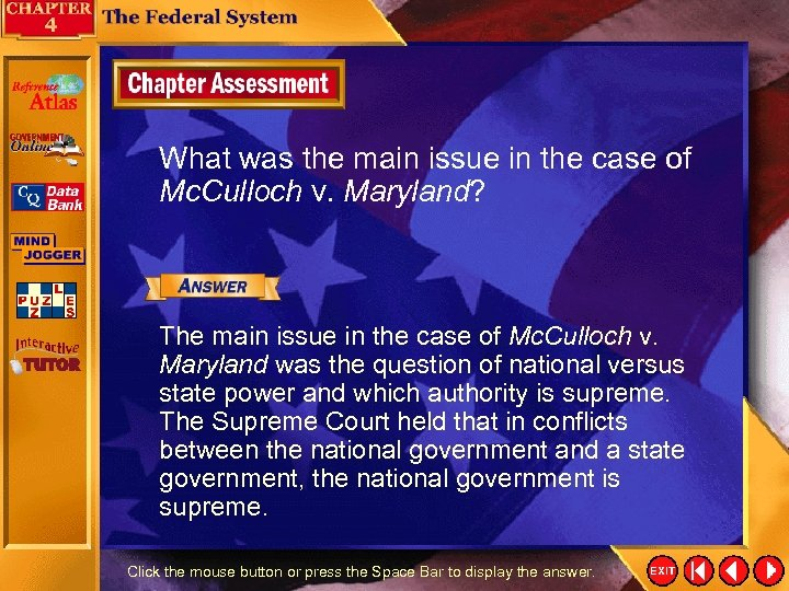 What was the main issue in the case of Mc. Culloch v. Maryland? The