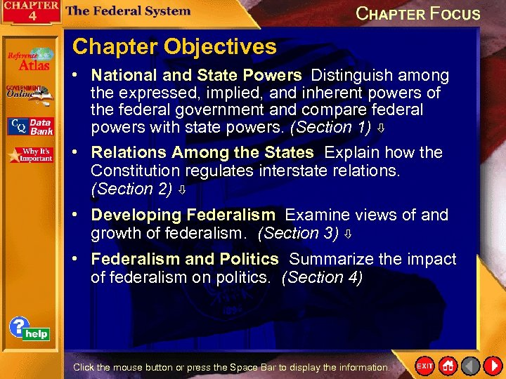 Chapter Objectives • National and State Powers Distinguish among the expressed, implied, and inherent