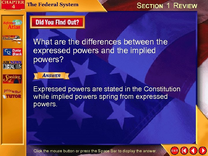 What are the differences between the expressed powers and the implied powers? Expressed powers