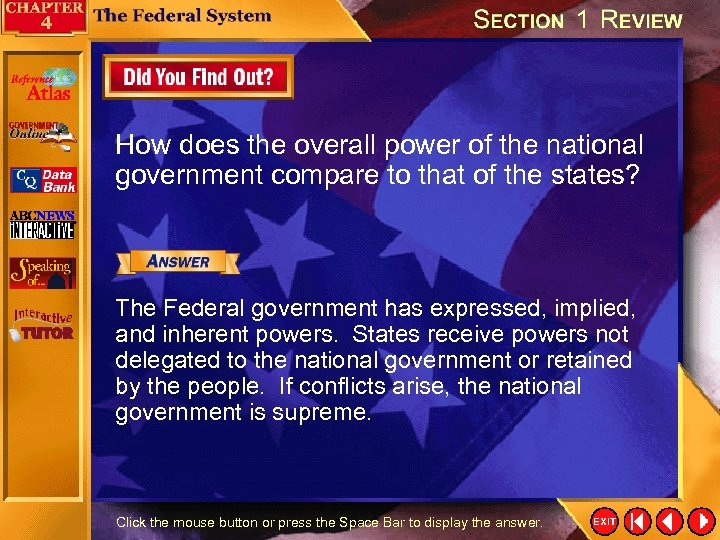 How does the overall power of the national government compare to that of the