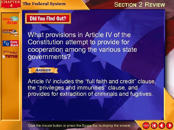 What provisions in Article IV of the Constitution attempt to provide for cooperation among