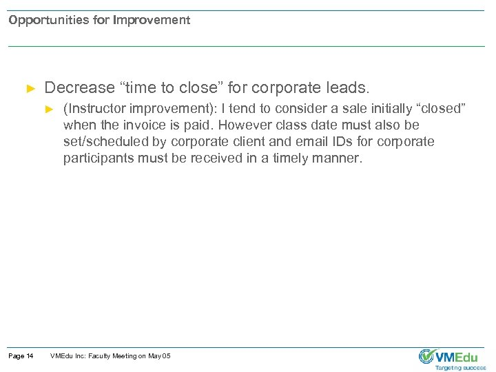"Opportunities for Improvement ► Decrease ""time to close"" for corporate leads. ► Page 14"