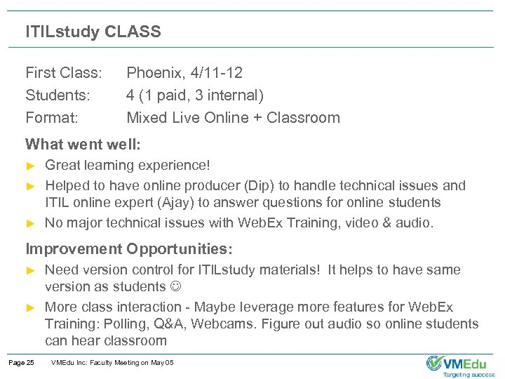 ITILstudy CLASS First Class: Students: Format: Phoenix, 4/11 -12 4 (1 paid, 3 internal)