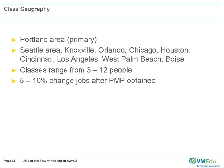Class Geography ► ► Page 35 Portland area (primary) Seattle area, Knoxville, Orlando, Chicago,