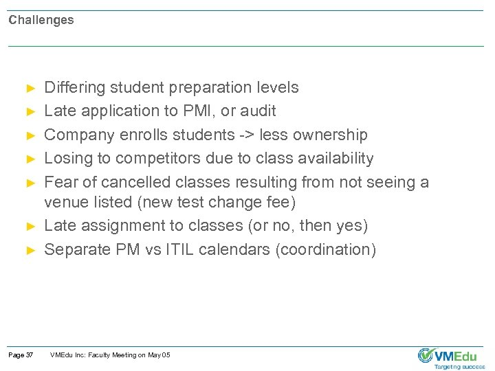Challenges ► ► ► ► Page 37 Differing student preparation levels Late application to