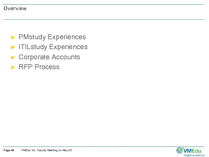 Overview ► ► Page 49 PMstudy Experiences ITILstudy Experiences Corporate Accounts RFP Process VMEdu