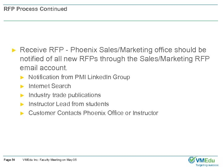 RFP Process Continued ► Receive RFP - Phoenix Sales/Marketing office should be notified of
