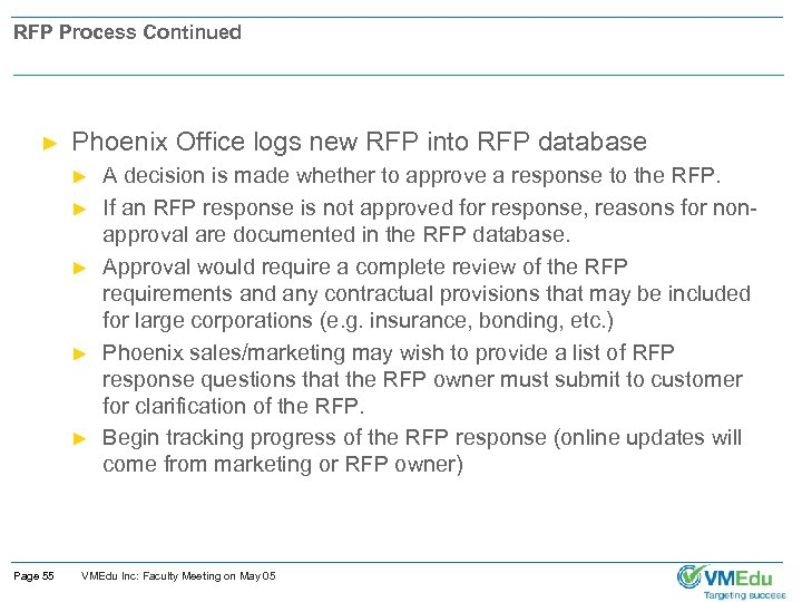 RFP Process Continued ► Phoenix Office logs new RFP into RFP database ► ►