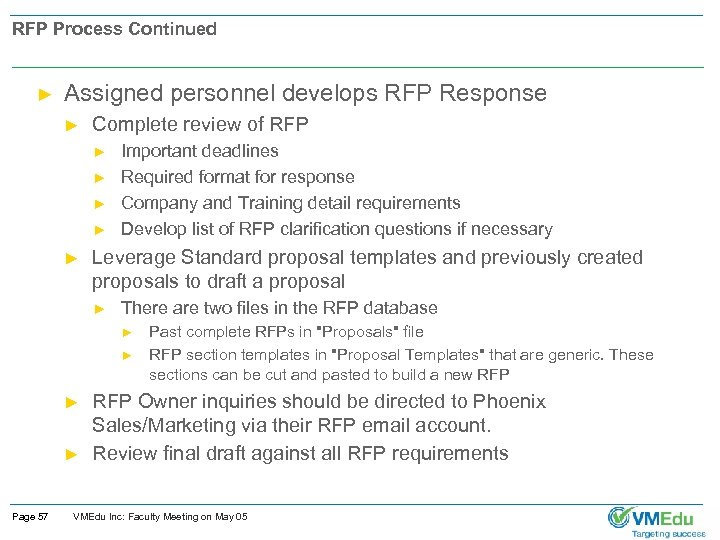 RFP Process Continued ► Assigned personnel develops RFP Response ► Complete review of RFP