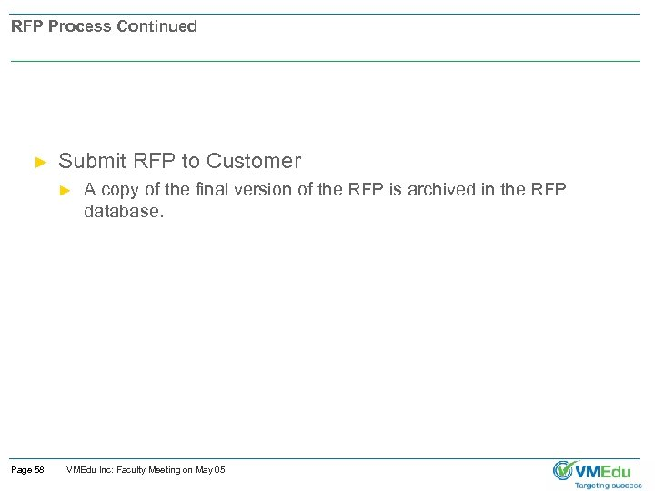 RFP Process Continued ► Submit RFP to Customer ► Page 58 A copy of