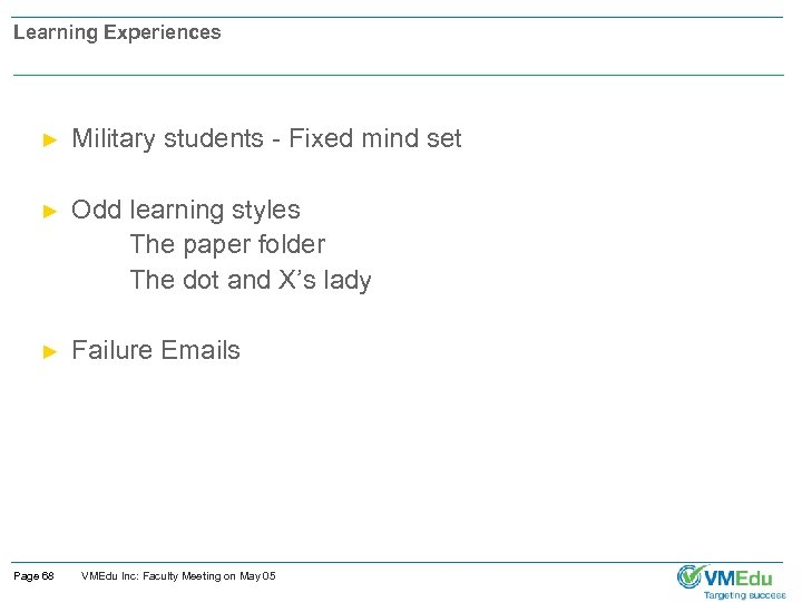Learning Experiences ► Military students - Fixed mind set Odd learning styles The paper
