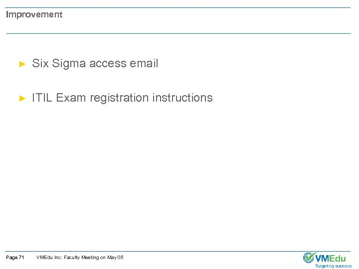 Improvement ► Six Sigma access email ► ITIL Exam registration instructions Page 71 VMEdu
