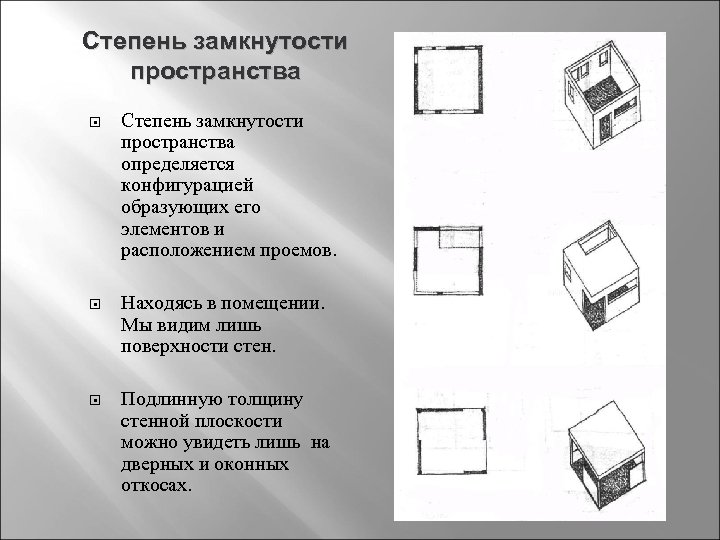 Степень замкнутости пространства определяется конфигурацией образующих его элементов и расположением проемов. Находясь в помещении.