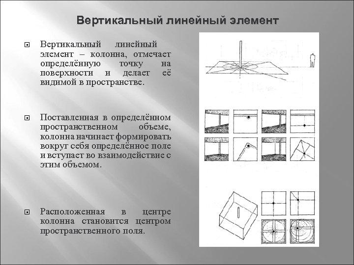 Вертикальный линейный элемент Вертикальный линейный элемент – колонна, отмечает определённую точку на поверхности и