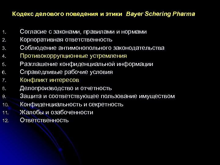 Кодекс делового поведения и этики Bayer Schering Pharma 1. 2. 3. 4. 5. 6.