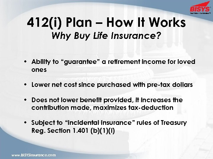 412(i) Plan – How It Works Your Vision • Our Solutions™ Why Buy Life