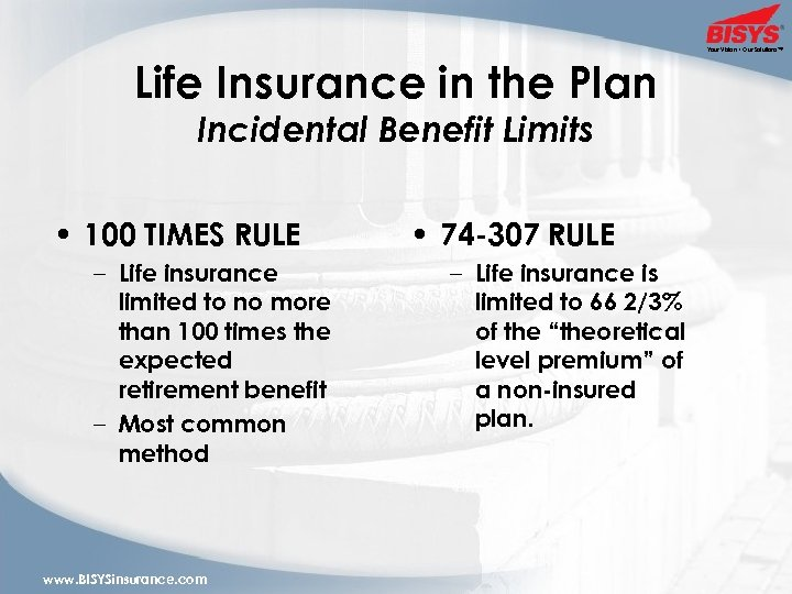 Your Vision • Our Solutions™ Life Insurance in the Plan Incidental Benefit Limits •