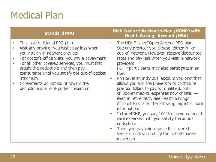 Medical Plan High-Deductible Health Plan (HDHP) with Health Savings Account (HSA) Standard PPO •