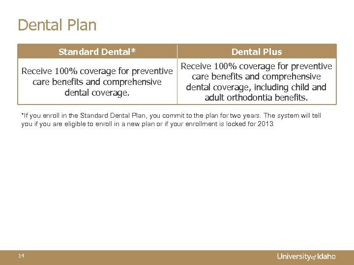 Dental Plan Standard Dental* Dental Plus Receive 100% coverage for preventive care benefits and