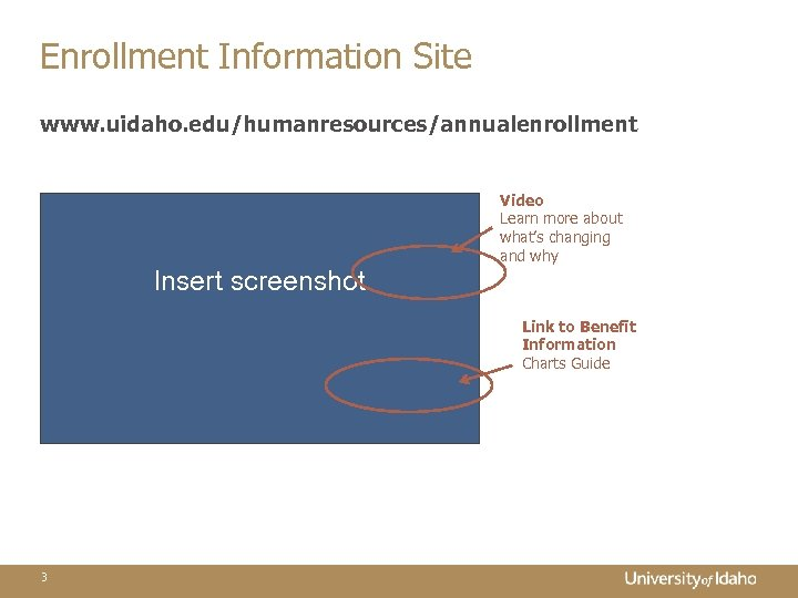 Enrollment Information Site www. uidaho. edu/humanresources/annualenrollment Video Learn more about what's changing and why