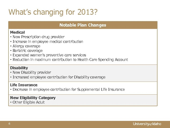 What's changing for 2013? Notable Plan Changes Medical • New Prescription drug provider •