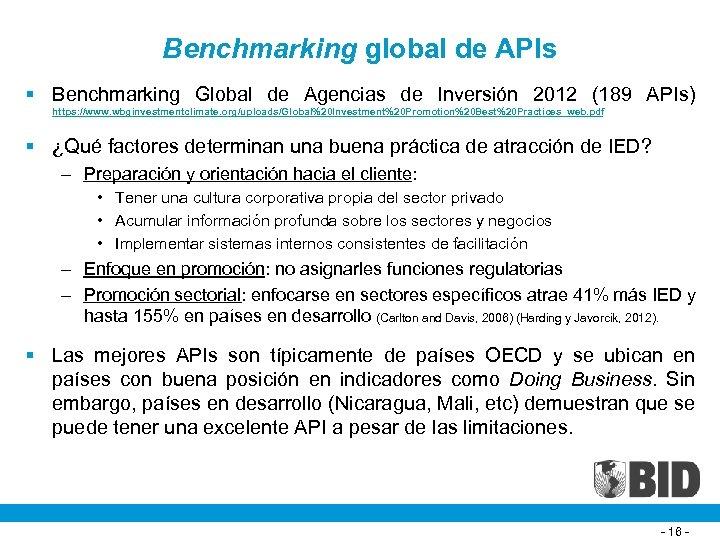 Benchmarking global de APIs § Benchmarking Global de Agencias de Inversión 2012 (189 APIs)