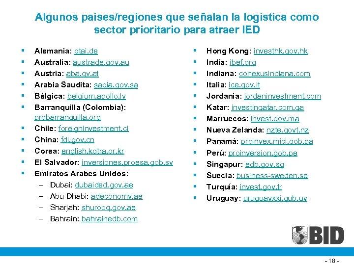 Algunos países/regiones que señalan la logística como sector prioritario para atraer IED § §