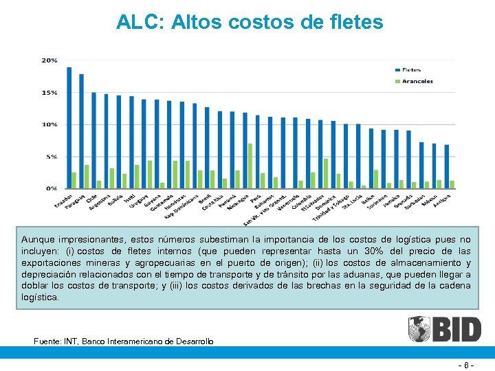 ALC: Altos costos de fletes Aunque impresionantes, estos números subestiman la importancia de los