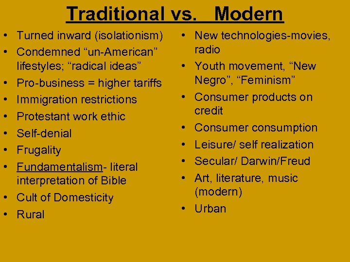 """Traditional vs. Modern • Turned inward (isolationism) • Condemned """"un-American"""" lifestyles; """"radical ideas"""" •"""