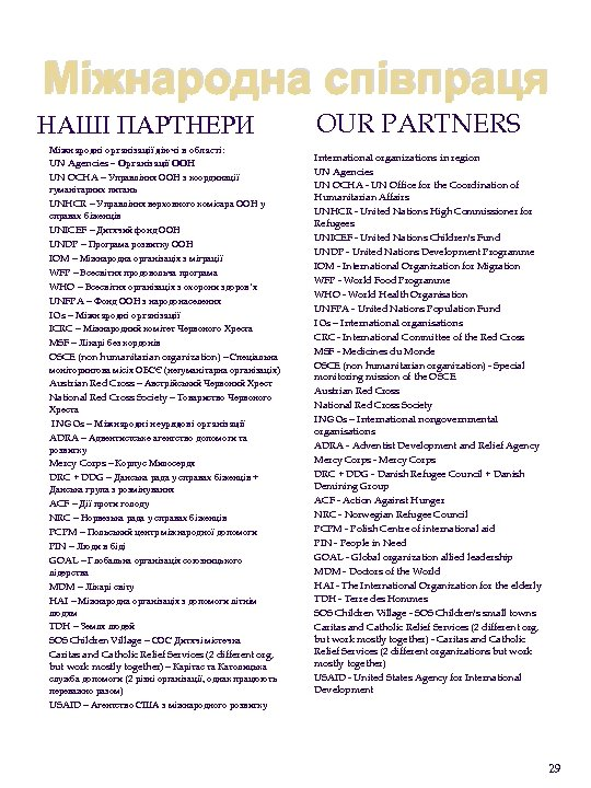 Міжнародна співпраця НАШІ ПАРТНЕРИ Міжнародні організації діючі в області: UN Agencies – Організації ООН