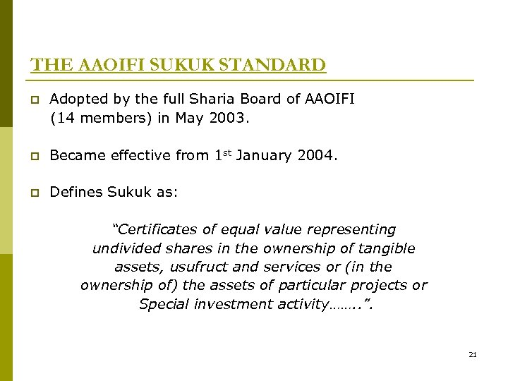 THE AAOIFI SUKUK STANDARD p Adopted by the full Sharia Board of AAOIFI (14