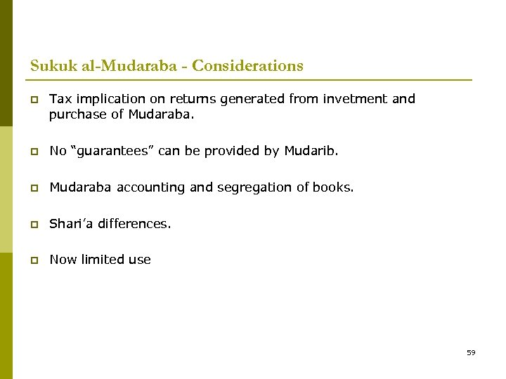 Sukuk al-Mudaraba - Considerations p Tax implication on returns generated from invetment and purchase