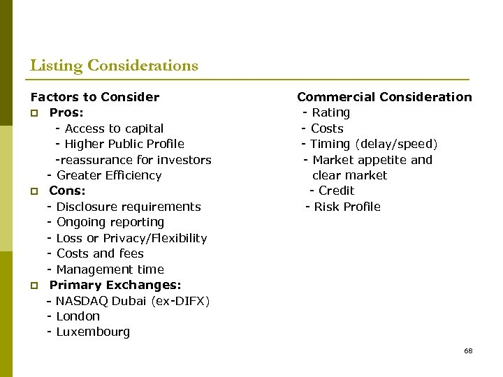 Listing Considerations Factors to Consider p Pros: - Access to capital - Higher Public