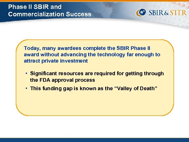 Phase II SBIR and Commercialization Success Today, many awardees complete the SBIR Phase II