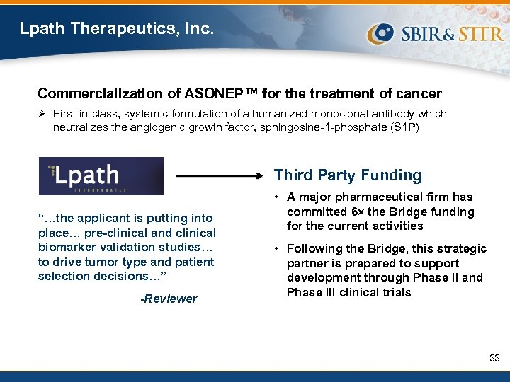 Lpath Therapeutics, Inc. Commercialization of ASONEP™ for the treatment of cancer Ø First-in-class, systemic
