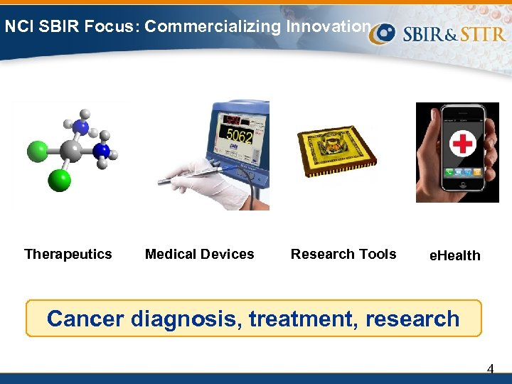 NCI SBIR Focus: Commercializing Innovation Therapeutics Medical Devices Research Tools e. Health Cancer diagnosis,