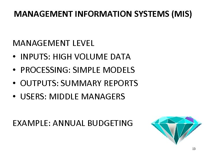 MANAGEMENT INFORMATION SYSTEMS (MIS) MANAGEMENT LEVEL • INPUTS: HIGH VOLUME DATA • PROCESSING: SIMPLE