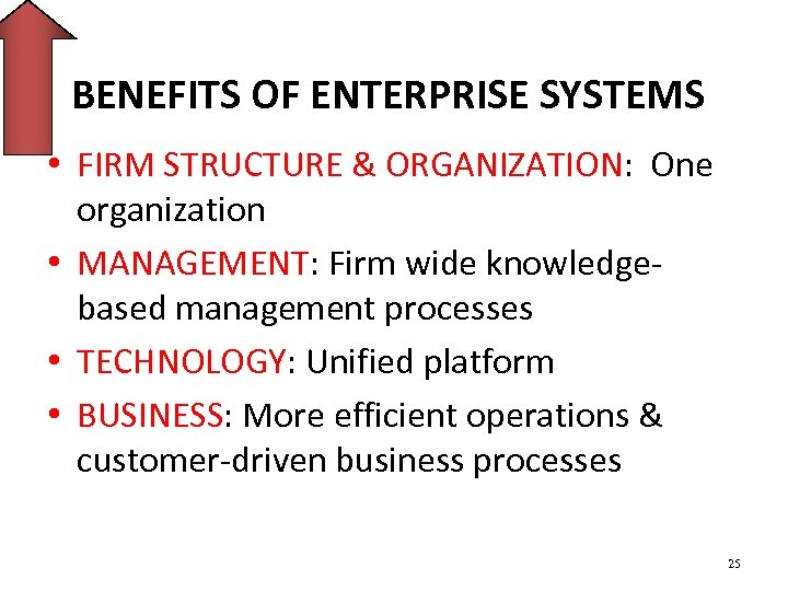 BENEFITS OF ENTERPRISE SYSTEMS • FIRM STRUCTURE & ORGANIZATION: One organization • MANAGEMENT: Firm